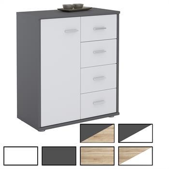 Kommode TIRANO 1 Tür, 4 Schubladen, 6 Farben