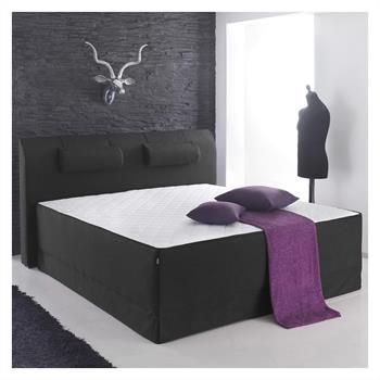 Boxspringbett Set ALICE in Leinen-Optik, braun