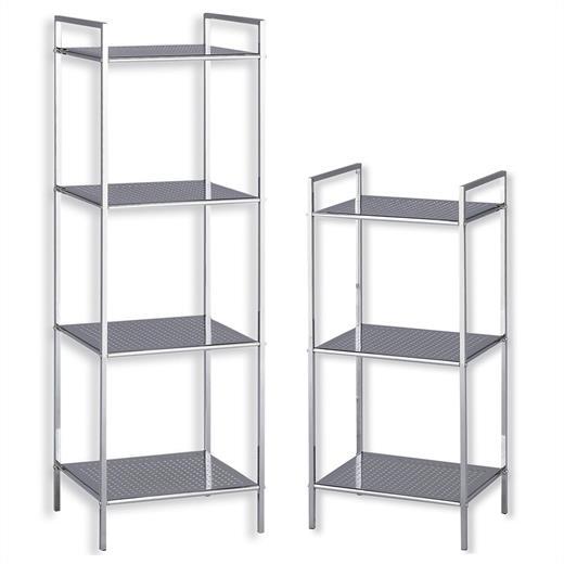Details zu Badregal Badezimmer Allzweck Stand Bücher Metall verchromt 3  oder 4 Böden