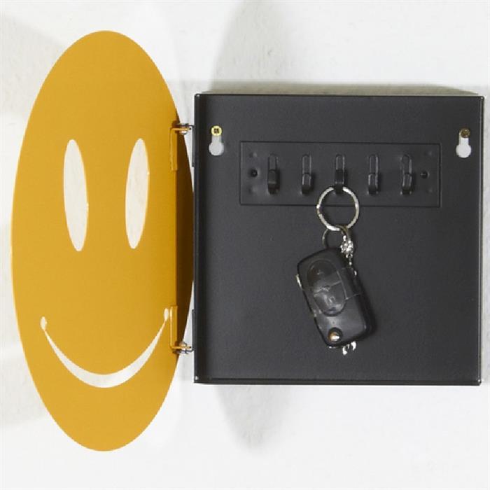Schlüsselbox aus Metall mit 5 Haken, gelb