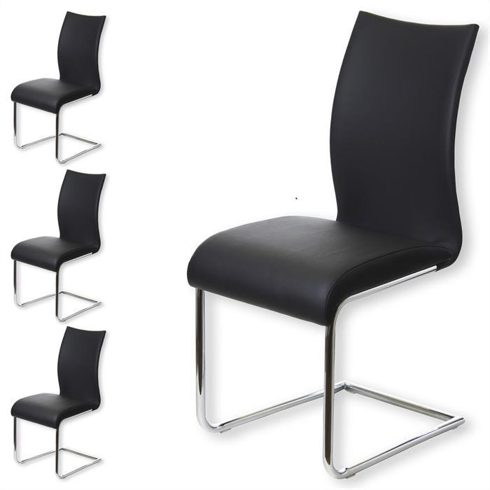 Esszimmerstuhl im 4er Set in schwarz/chrom
