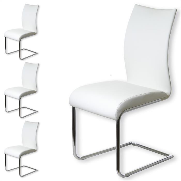 Esszimmerstuhl im 4er Set in weiß/chrom