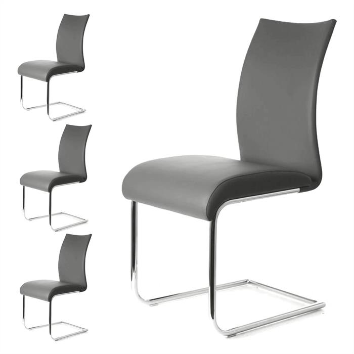 Esszimmerstuhl im 4er Set in grau/chrom