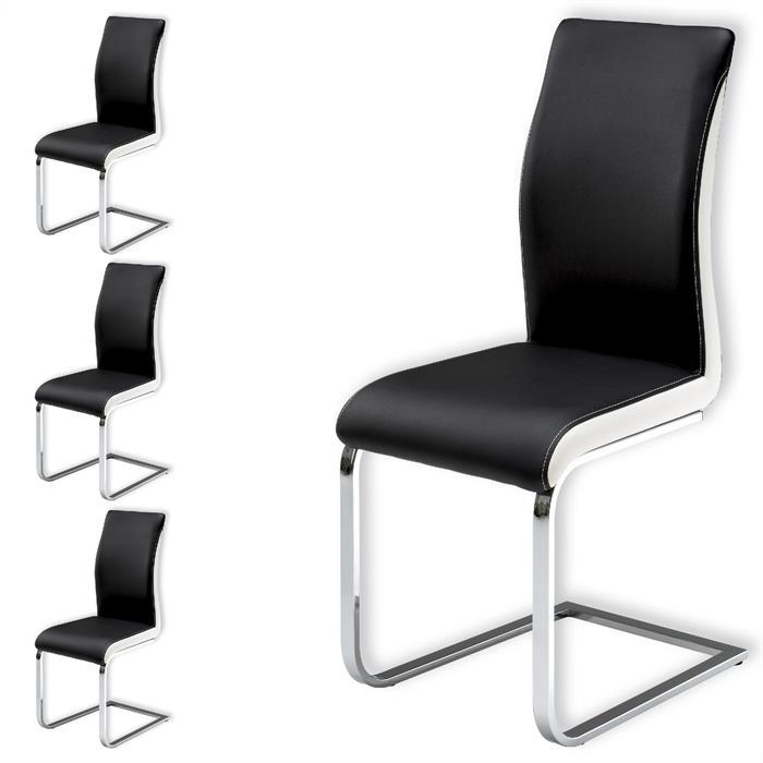 Schwingstuhl im 4er Set in schwarz