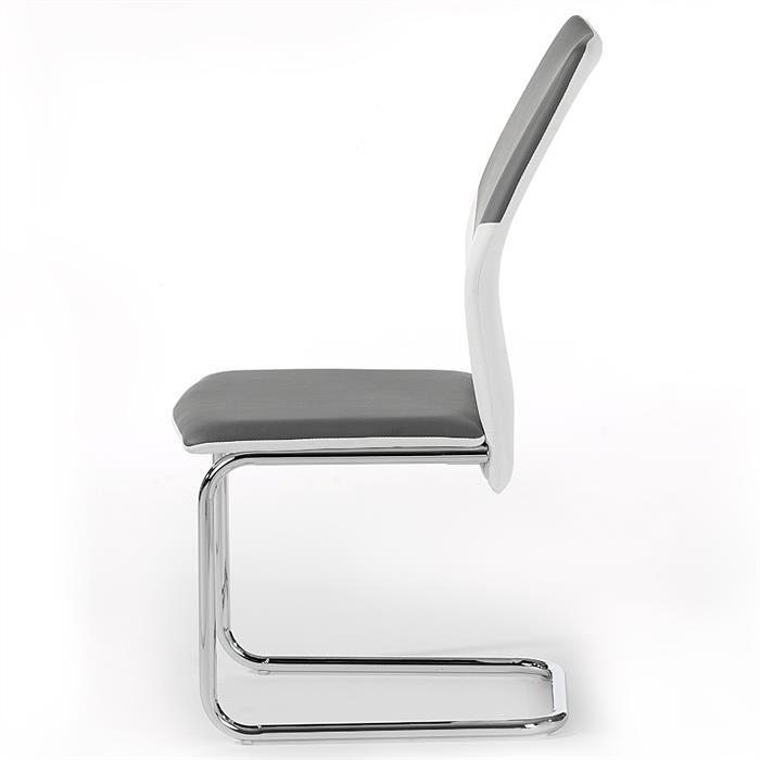 4er Set Schwingstuhl ELLA in weiß/grau