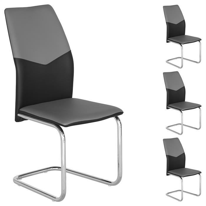 4er Set Schwingstuhl ELLA in schwarz/grau