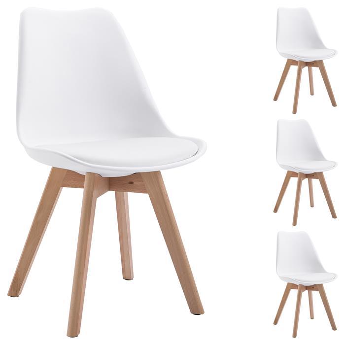 Esszimmerstuhl aus Kunststoff im 4er Set in weiß