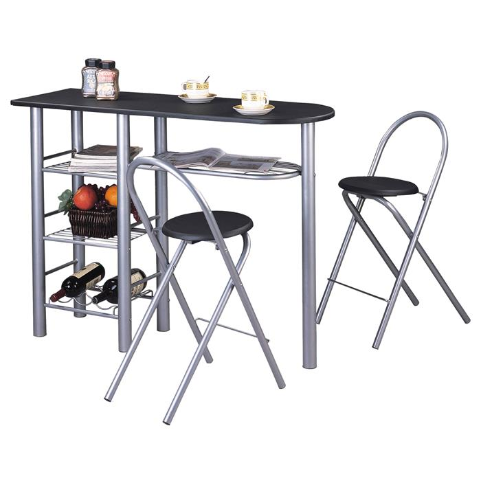 Bartisch mit 2 Stühlen und Ablagefächern in schwarz