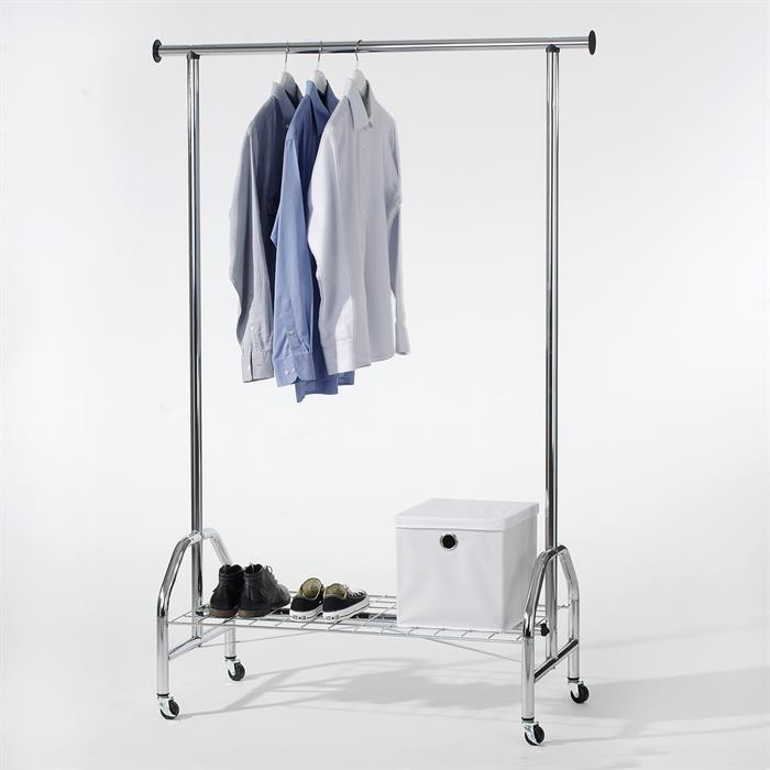 Garderobenwagen, verchromt mit Schuhablage