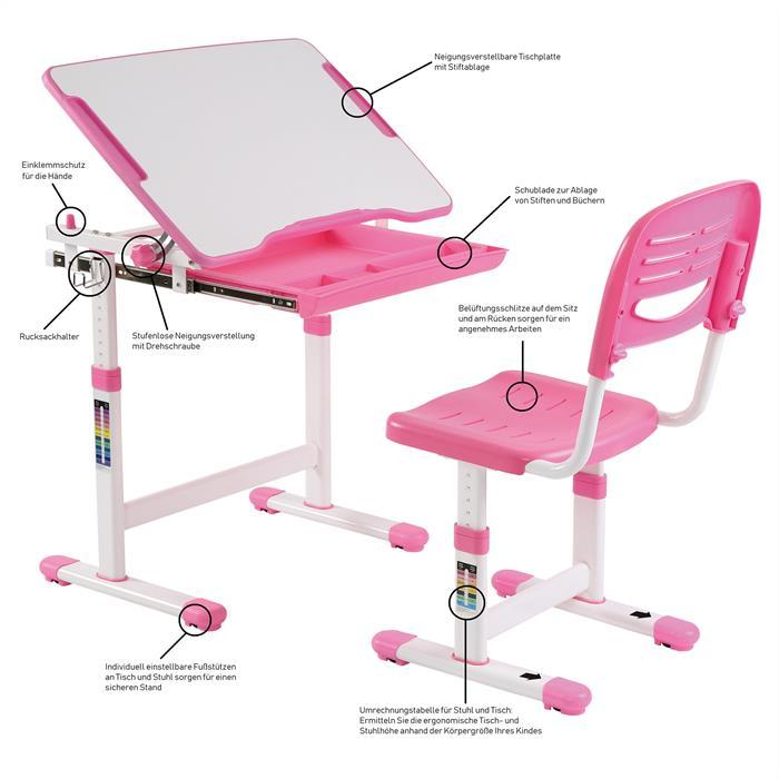 Kinderschreibtisch Set höhenverstellbar inklusive Stuhl, pink rosa