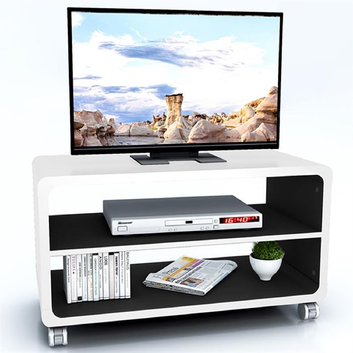 TV-Rack BATU in weiß/schwarz mit Rollen