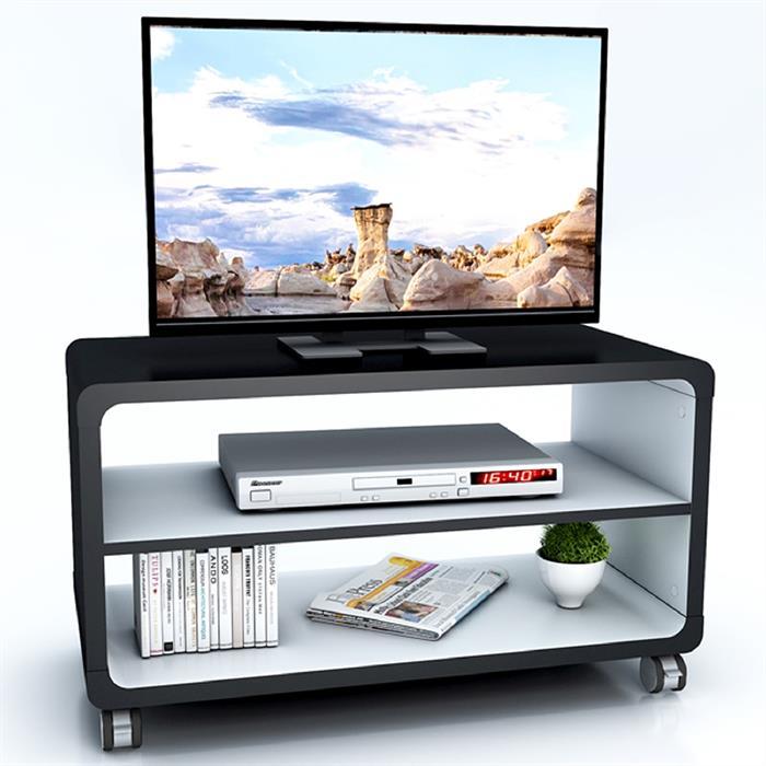 TV-Rack BATU in schwarz/grau mit Rollen