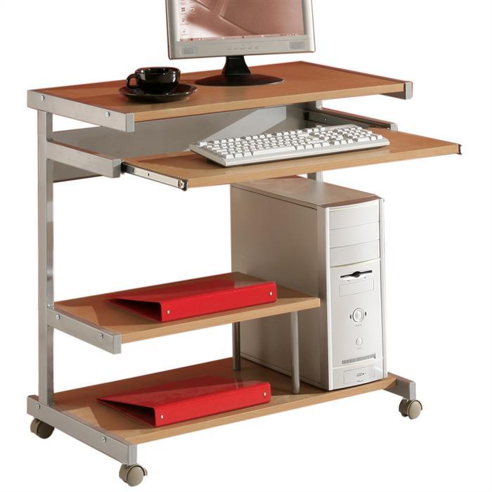 Computertisch mit Tastaturauszug, Buche