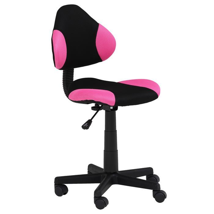 Kinderdrehstuhl schwarz/pink