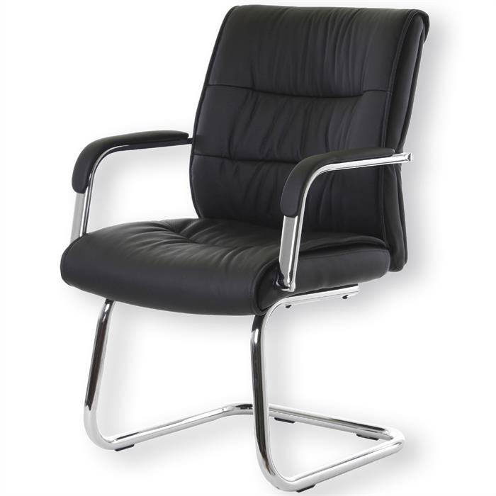 Konferenzstuhl aus schwarzem Lederimitat