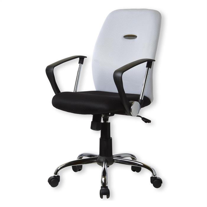 Bürodrehstuhl, schwarz-weiß mit Armlehnen