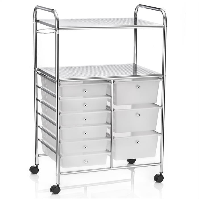 Badezimmerwagen mit 9 Schubladen, in weiß