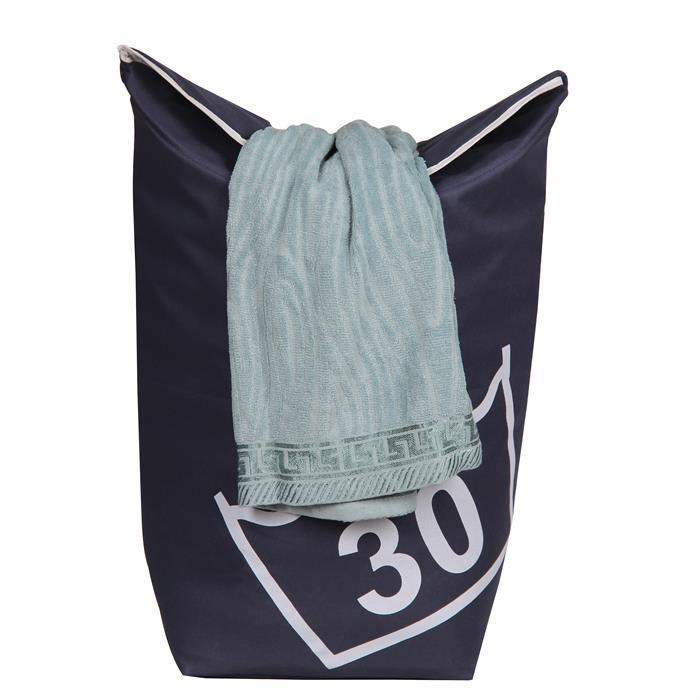 Wäschesammler mit Tragegriffen in dunkelblau