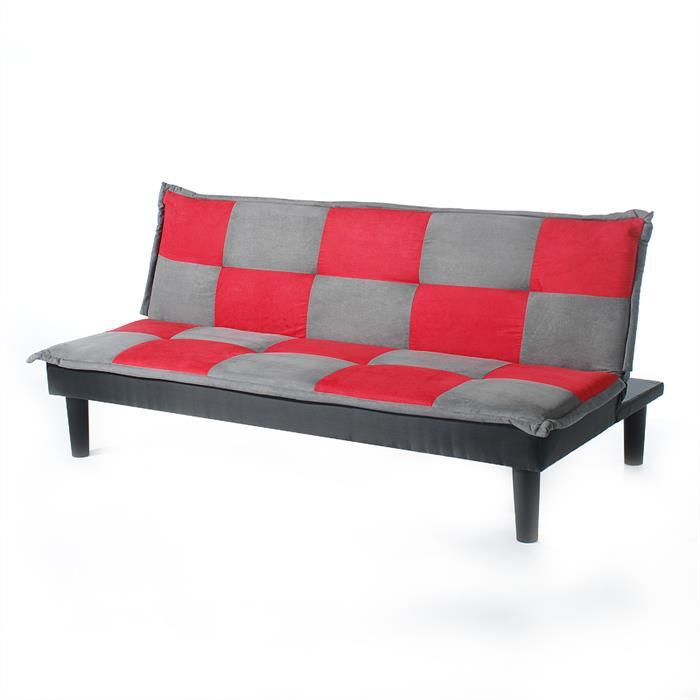 3-Sitzer Schlafsofa CLAUDIA in grau/rot kariert