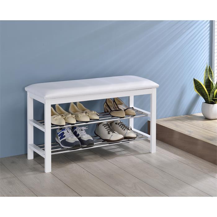 Sitzbank in weiß mit 2 Schuhablagen