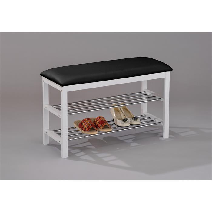Sitzbank in schwarz/weiß mit 2 Schuhablagen