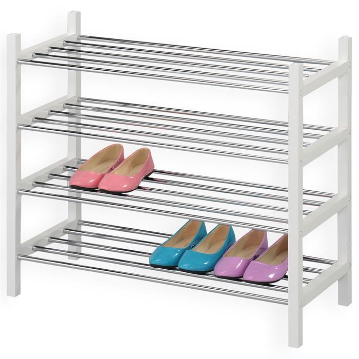 Schuhregal mit 4 Ablagen in weiß lackiert