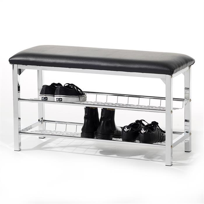 Sitzbank mit Schuhablage in schwarz