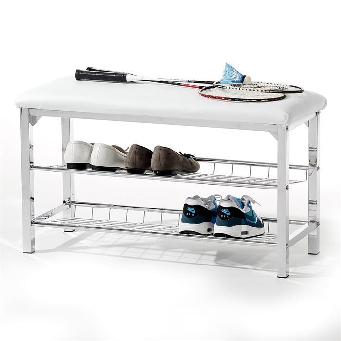 Sitzbank mit Schuhablage, in weiß