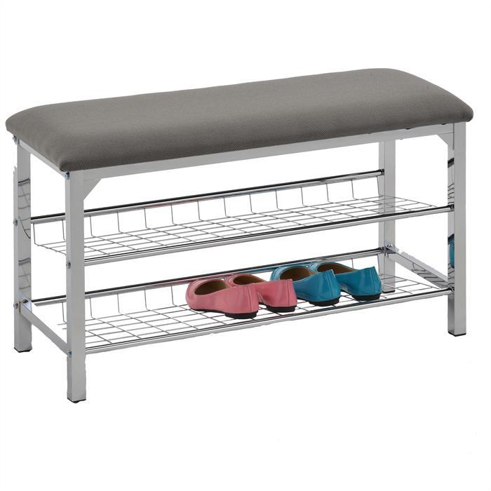 Sitzbank mit Schuhablage in grau
