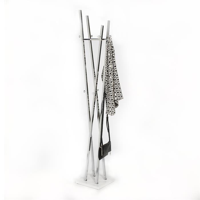 Kleiderständer aus Metall in chrom/weiß