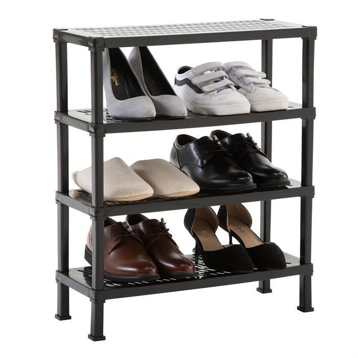 Schuhregal mit 4 Ablagen in schwarz