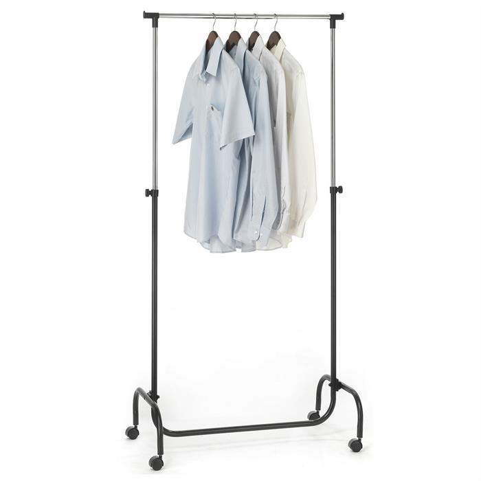 Kleiderständer auf Rollen, höhenverstellbar in schwarz