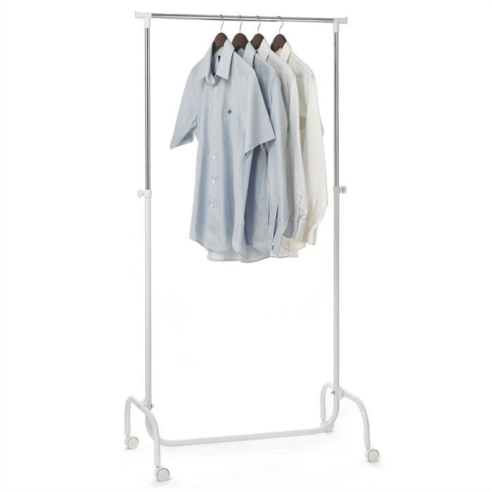 Kleiderständer auf Rollen, höhenverstellbar in weiß