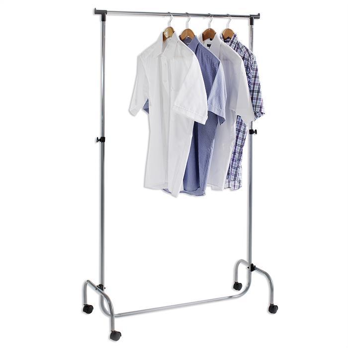 Kleiderständer auf Rollen, höhenverstellbar alufarben