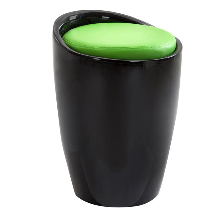 Sitzhocker DANIEL mit Stauraum schwarz/grün
