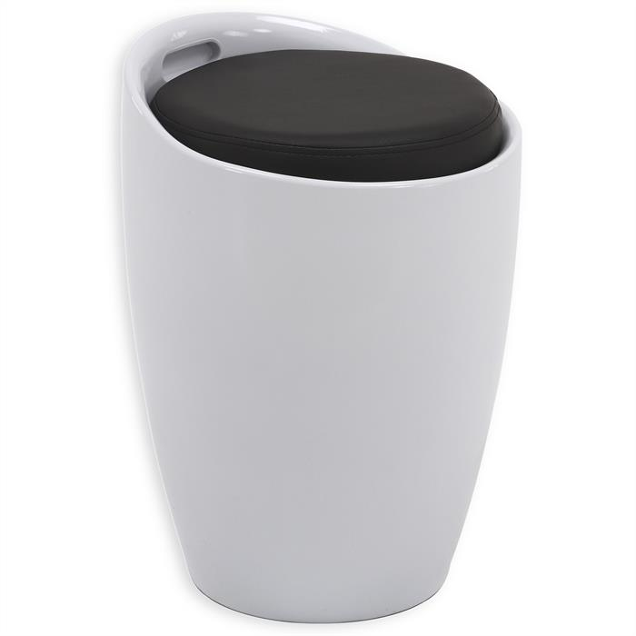 Sitzhocker ROCCO mit Stauraum in weiß/schwarz