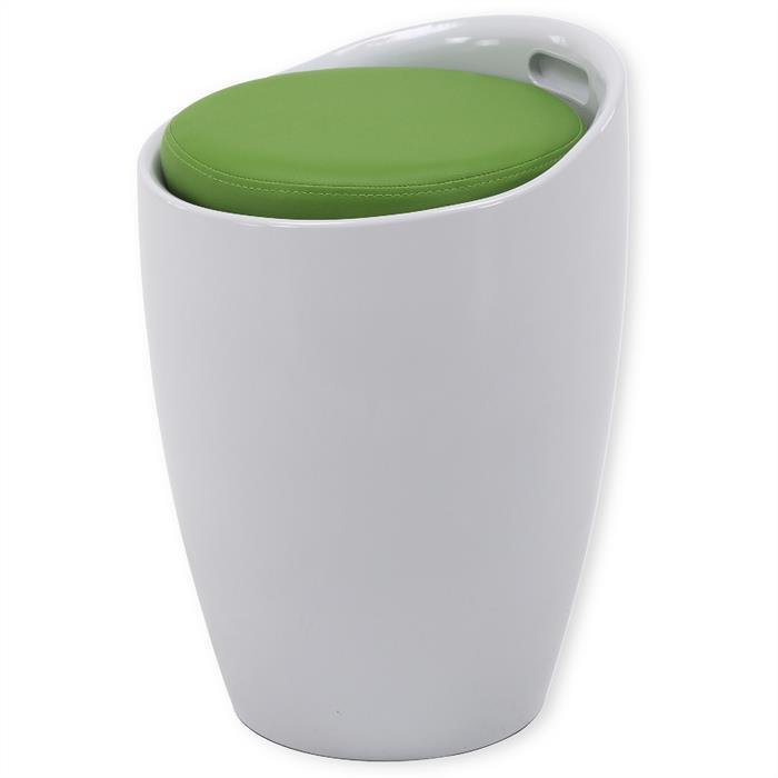 Sitzhocker mit Stauraum in weiß/grün