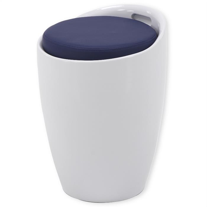 Sitzhocker mit Stauraum in weiß/blau