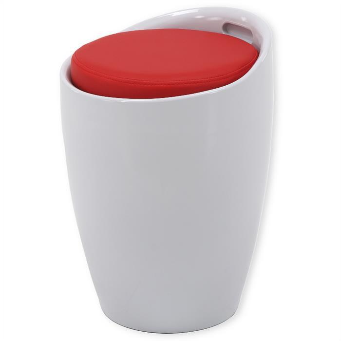 Sitzhocker mit Stauraum in weiß/rot
