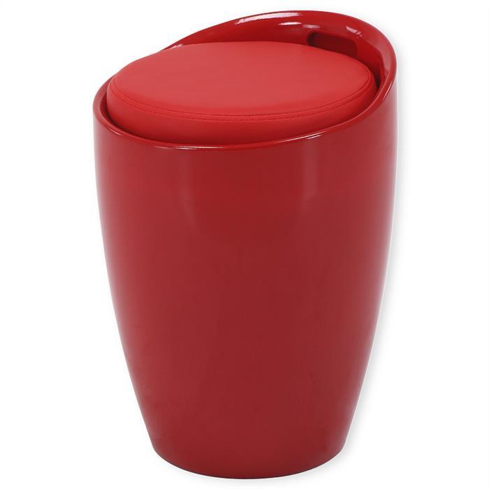 Sitzhocker mit Stauraum in rot
