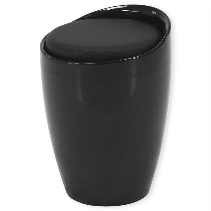 Sitzhocker mit Stauraum in schwarz