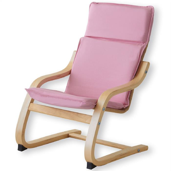 Kinder Relaxsessel in natur lackiert, pink