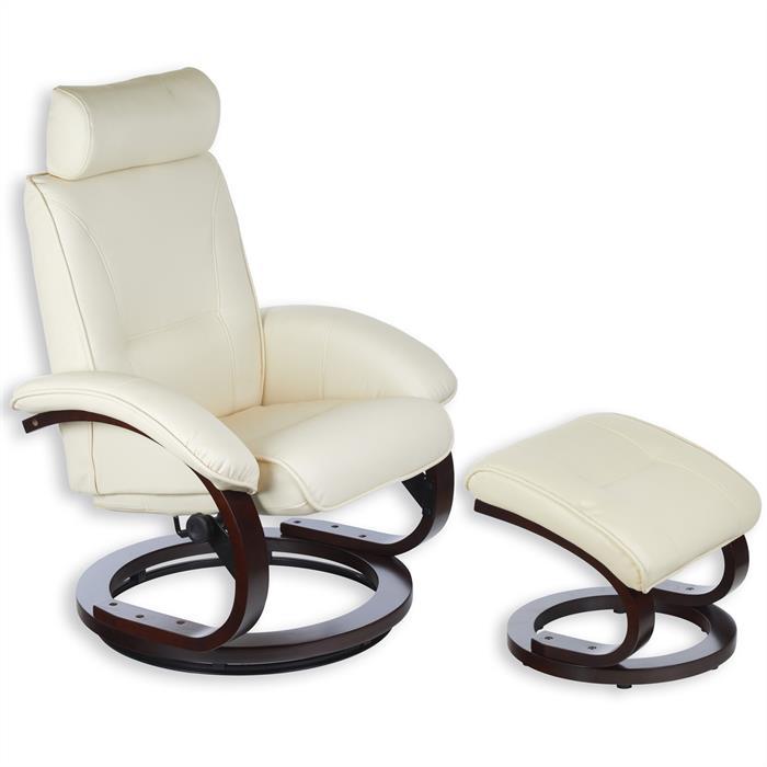 Relaxsessel mit Hocker in beige