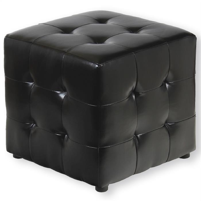 Sitzwürfel PINA aus Leder in schwarz
