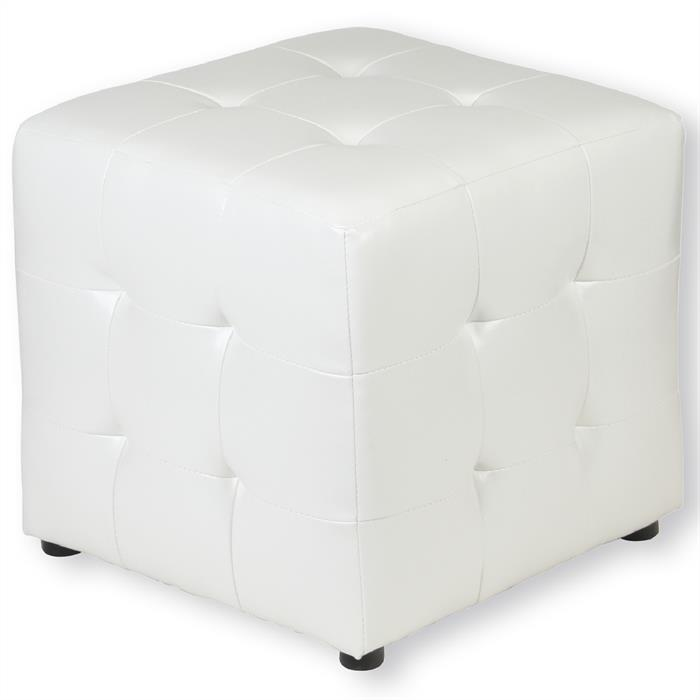 Sitzwürfel PINA, Lederimitat in weiß