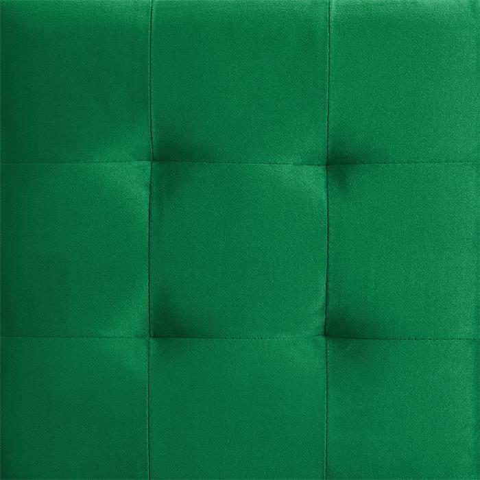 Würfelhocker aus Samt Stoff in grün