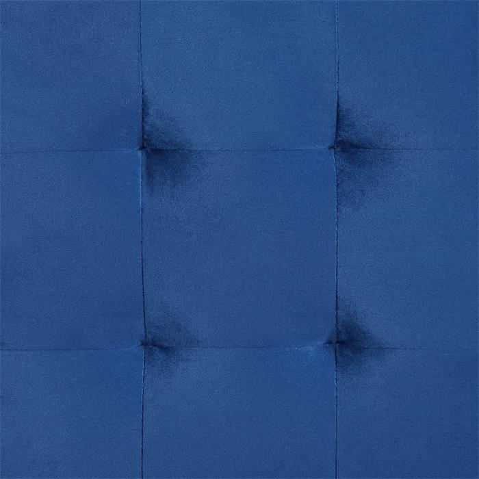 Würfelhocker aus Samt Stoff in dunkelblau