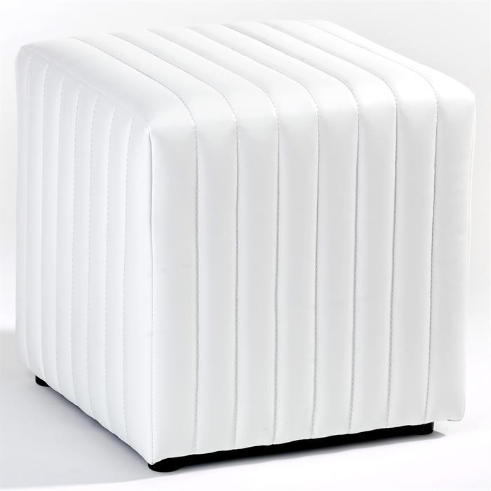 Sitzwürfel aus weißem Kunstleder