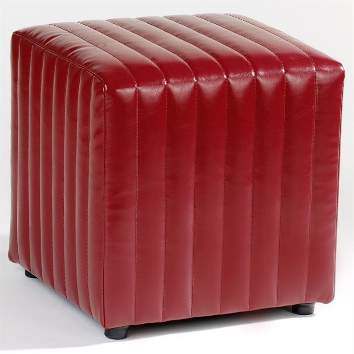 Sitzwürfel aus rotem Kunstleder