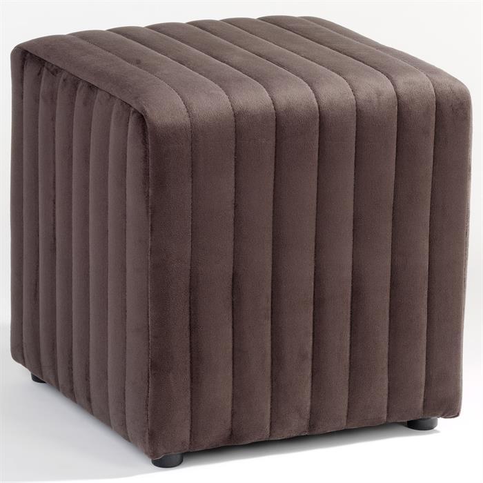 Sitzwürfel aus braunem Textilbezug